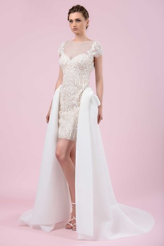 gemy-maalouf-2016-minidress-with-pattern-and-white-open-front-overskirt