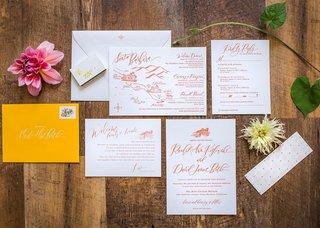 wedding-invitation-with-map-of-santa-barbara-rsvp-card-details-orange-calligraphy-yellow-envelope