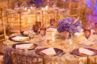 wedding-reception-table-with-purple-hydrangea-centerpieces-and-plum-dinnerwear