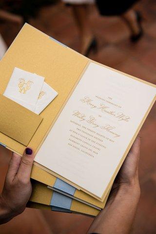 gold-ceremony-program-with-pocket-and-white-kleenex-tissue-monogram-with-gold-foil