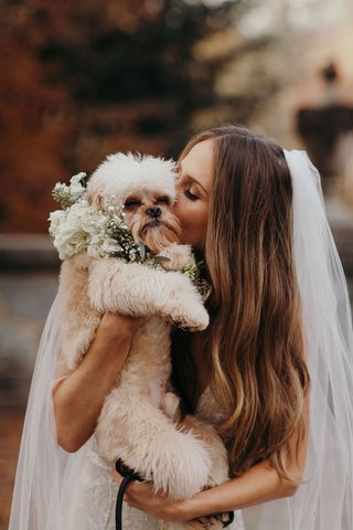 suzanna-villarreal-and-alex-wood-la-dodgers-wedding-dog-paxton-in-wedding-procession-with-bride
