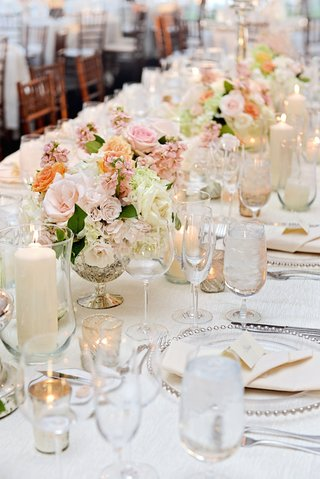 white-wedding-table-with-silver-accents-and-pink-flowers