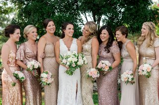 angela-akins-sergio-garcia-wedding-bridesmaids-in-mismatch-dresses-rose-gold-gold-sequin-metallic