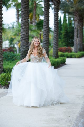 bride-in-hayley-paige-wedding-dress-with-full-tulle-skirt-nude-lined-bodice-with-beading-illusion