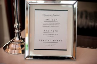 wedding-signature-cocktail-menu-with-silver-chrome-frame-three-libations-to-choose-from