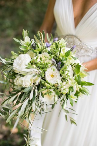 freshly-picked-looking-bouquet-hellebore-garden-rose-olive-branches-lavender-mint-leaves