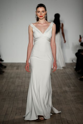 anne-barge-fall-2019-wedding-dress-baird-v-neck-sheath-crepe-dress-v-neck-banding-at-bodice