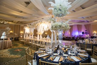 reception-space-navy-gold-white-accents-north-carolina-wedding-ballroom-traditional-winter-glamorous