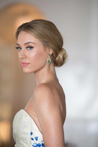 emerald-drop-earrings-southern-inspired-wedding-bride-wearing-updo-strapless-wedding-dress