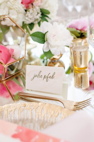 wedding-reception-place-card-gold-calligraphy-and-flatware-terrarium-pink-peony-flower