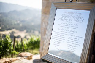 mirror-sign-with-welcome-note-and-list-of-bridesmaids-groomsmen-ring-bearers-flower-girls-etc