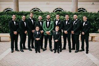 groom-in-emerald-green-tuxedo-jacket-bow-tie-groomsmen-in-velvet-tux-and-ring-bearers