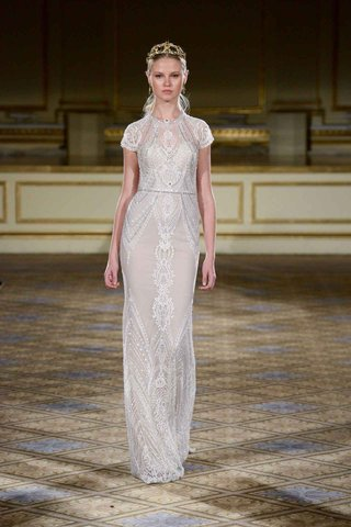 berta-fall-winter-2016-sheer-wedding-dress-with-short-sleeves-and-high-neck