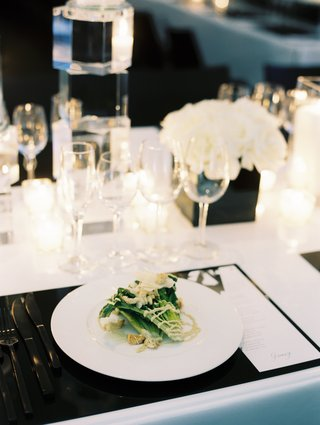 plated-salad-at-chic-black-and-white-tablescape