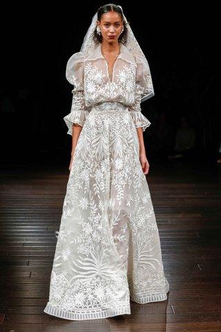 naeem-khan-bridal-fall-2017-taormina-high-neck-collar-wedding-dress-ruffle-sleeves-embroidery