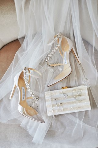 wedding-accessories-veil-and-jimmy-choo-heels-clear-toe-with-jewel-strap-mother-of-pearl-clutch