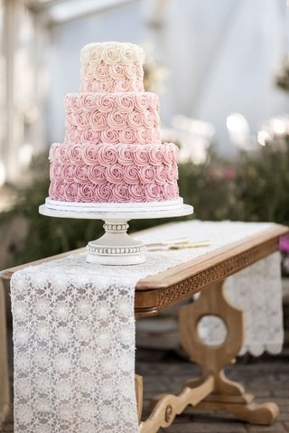 wedding-cake-three-layer-on-antique-vintage-inspired-cake-stand-wood-table-lace-runner-pink-ombre