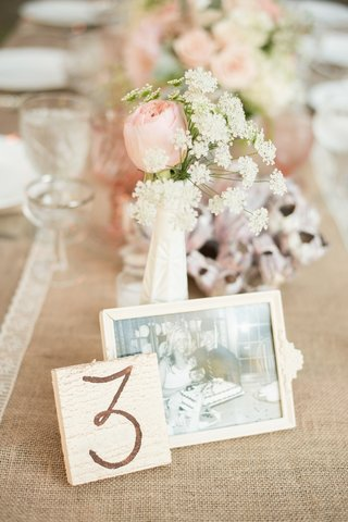 framed-photo-of-couple-on-burlap-reception-table
