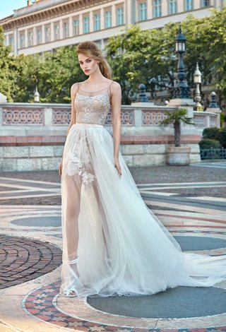 gala-by-galia-lahav-2016-nude-mini-wedding-dress-with-overskirt-and-flower-applique