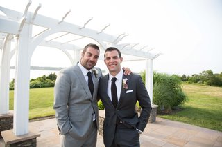 john-colaneri-and-anthony-carino-hosts-of-kitchen-cousins-in-grey-suits-at-johns-wedding