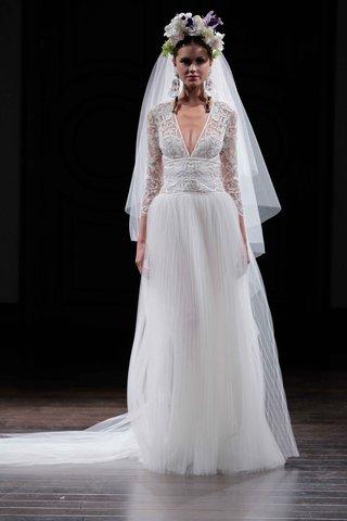 v-neck-three-quarter-sleeve-wedding-dress-by-naeem-khan-fall-2016