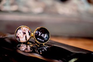 groom-cuff-links-gold-with-one-featuring-initials-and-wedding-date-and-one-with-engagement-photo