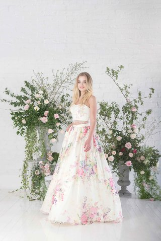 charlotte-balbier-posy-two-piece-crop-top-strapless-wedding-dress-pink-flower-print-skirt-lace-trim