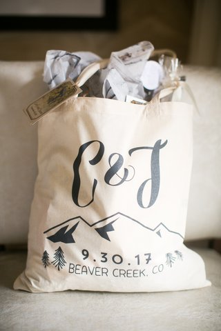 welcome-bags-for-colorado-destination-wedding-with-initials-mountains-wedding-date