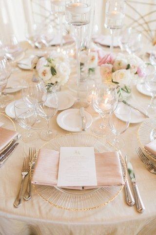 wedding-reception-champagne-linens-gold-rim-charger-plate-blush-napkin-white-gold-menu-card-monogram