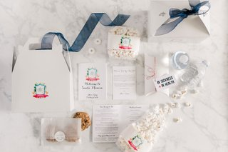 wedding-welcome-box-with-santa-monica-itinerary-cookies-popcorn-water-bottle-emergency-kit-ribbon
