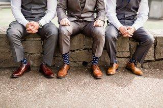groom-groomsmen-navy-socks-gray-suits-brown-shoes-anchors-military-navy-portland-wedding