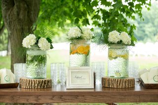 wood-table-with-wood-stump-riser-infused-water-bar-lemon-lime-orange-hydrangea-decorations