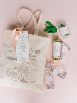 wedding-favor-gift-welcome-bag-peach-map-on-tote-bag-water-bottle-cookie-treats-recovery-kit