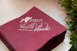 burgundy-cocktail-napkin-for-equestrian-themed-bridal-shower