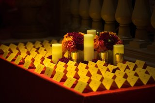 white-pillar-candles-and-seating-cards-on-table