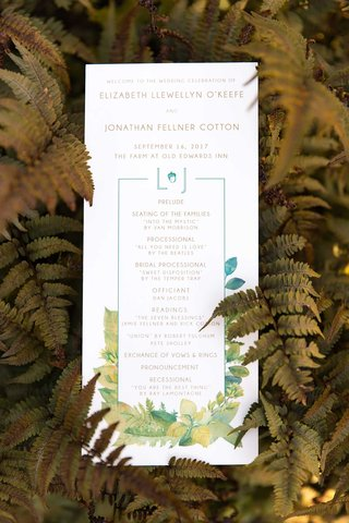 wedding-ceremony-program-green-monogram-acorn-leaf-motif-yellow-blue-green-wedding-vows-readings