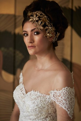 lace-white-wedding-gown-sweetheart-neckline-sleeves-gold-headpiece