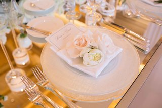 mirror-top-reception-place-setting-white-charger-reflective-flowers-menu-candles