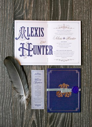 wedding-invitation-that-looks-like-old-world-story-book-font-and-wax-seal-feather-with-monogram