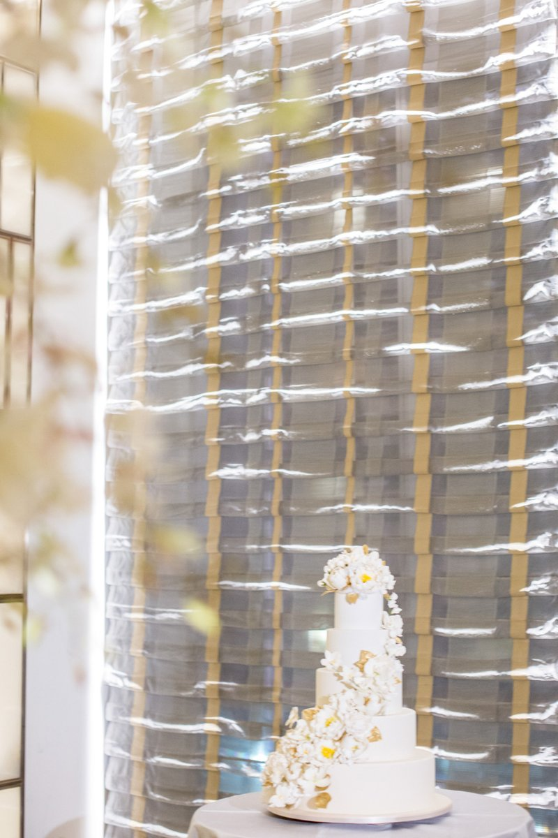 White 5-Tier Cake, Cascading Ivory Florals