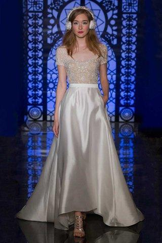 reem-acra-bridal-fall-2016-short-sleeve-beaded-top-with-silk-a-line-skirt