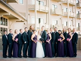 wedding-party-at-montage-deer-valley-purple-bridesmaid-dresses-and-purple-bow-ties-for-groomsmen