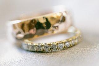 grooms-hammered-gold-wedding-band-brides-diamond-wedding-band