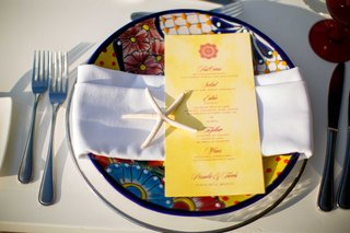 colorful-charger-plate-red-and-yellow-menu-starfish-punta-mita-mexico-wedding-styled-shoot-tropical