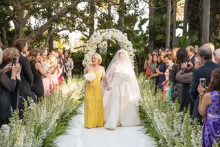 bride-in-long-sleeve-wedding-dress-and-veil-with-mother-of-bride-in-illusion-neckline-yellow-dress