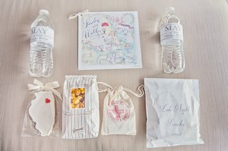 welcome-bag-for-chicago-wedding-cookie-water-botle-map-popcorn-emergency-kit-and-snacks