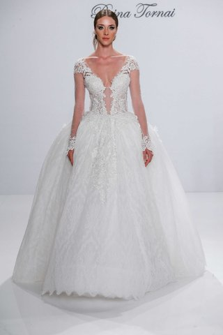 ball-gown-wedding-dress-sheer-long-sleeves-illusion-deep-v-neck-pnina-tornai-for-kleinfeld