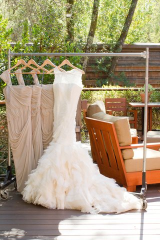 brides-vera-wang-fit-and-flare-gown-with-lace-neckline-ruffle-skirt-bridesmaids-goddess-dresses