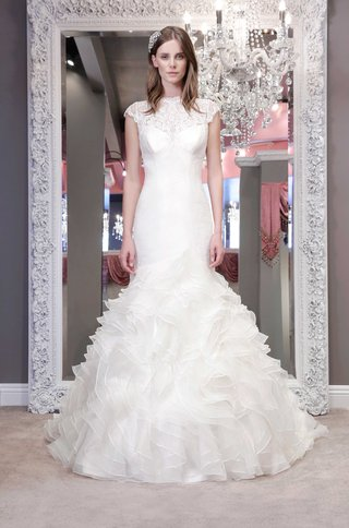 winnie-chlomin-2016-mermaid-wedding-dress-with-ruffle-skirt-and-lace-neckline-with-cap-sleeves