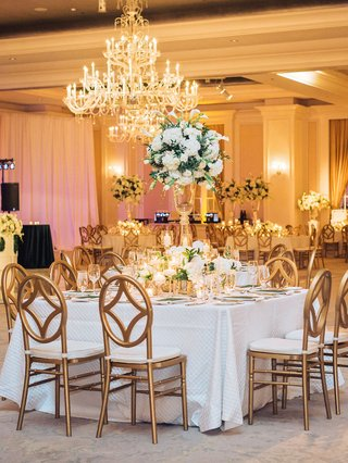 square-table-with-oval-back-gold-chairs-candles-white-hydrangea-tulip-centerpiece-lower-florals-gold